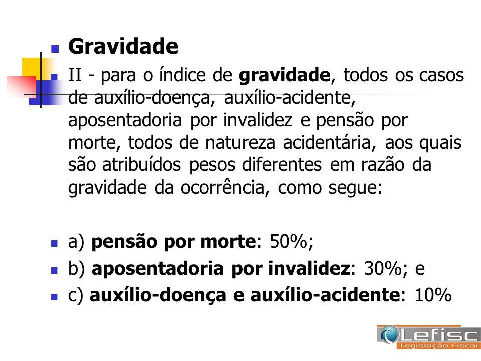 Gravidade II - para o índice de gravidade, todos os casos de auxílio-doença, auxílio-acidente, aposentadoria por invalidez e pensão por morte, todos d