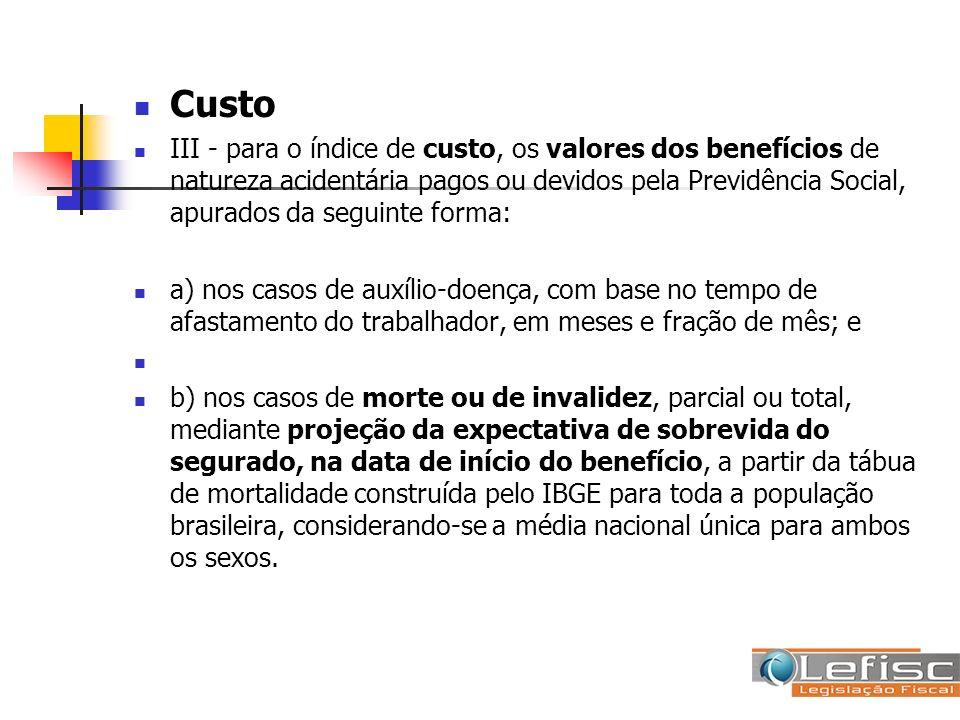 Custo III - para o índice de custo, os valores dos benefícios de natureza acidentária pagos ou devidos pela Previdência Social, apurados da seguinte f