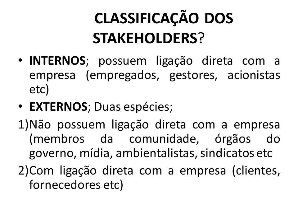 CLASSIFICAÇÃO DOS STAKEHOLDERS? INTERNOS; possuem ligação direta com a empresa (empregados, gestores, acionistas etc) EXTERNOS; Duas espécies; 1)Não p