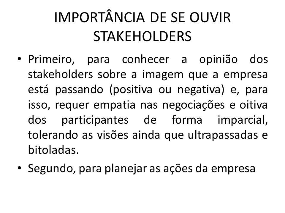 IMPORTÂNCIA DE SE OUVIR STAKEHOLDERS Primeiro, para conhecer a opinião dos stakeholders sobre a imagem que a empresa está passando (positiva ou negati
