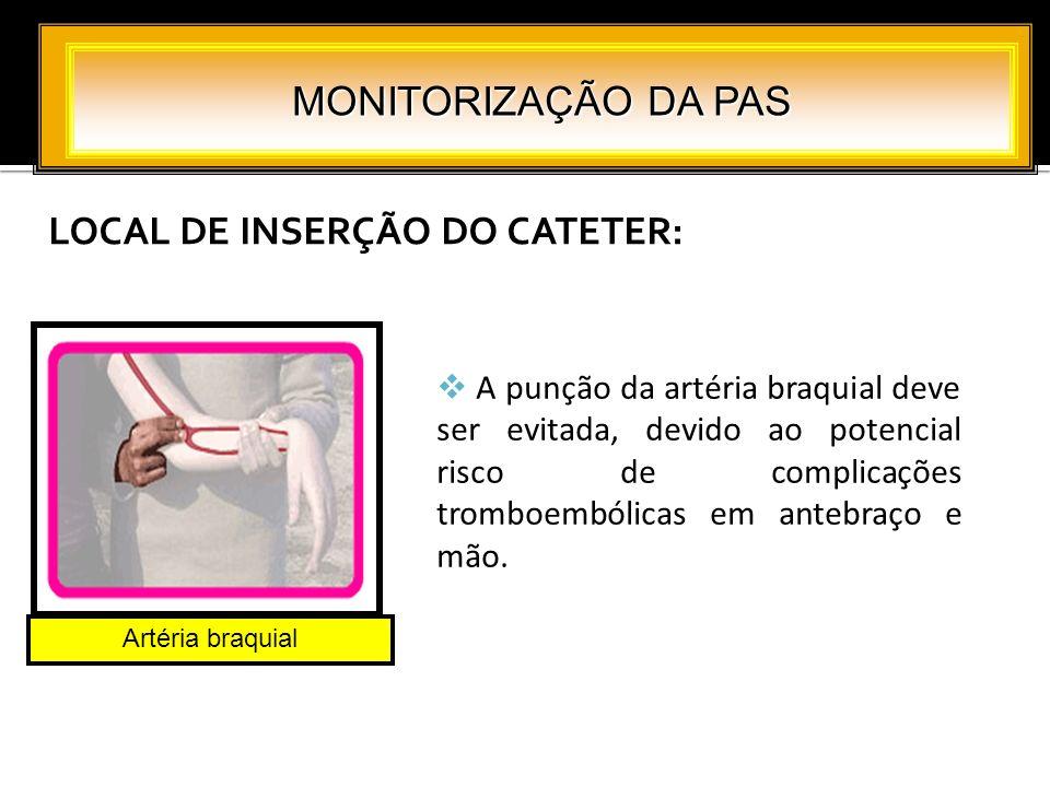 LOCAL DE INSERÇÃO DO CATETER: MONITORIZAÇÃO DA PAS Artéria braquial A punção da artéria braquial deve ser evitada, devido ao potencial risco de compli