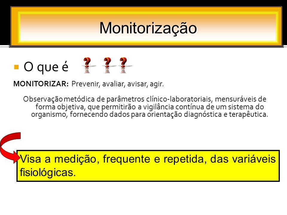 O que é MONITORIZAR: Prevenir, avaliar, avisar, agir. Observação metódica de parâmetros clínico-laboratoriais, mensuráveis de forma objetiva, que perm