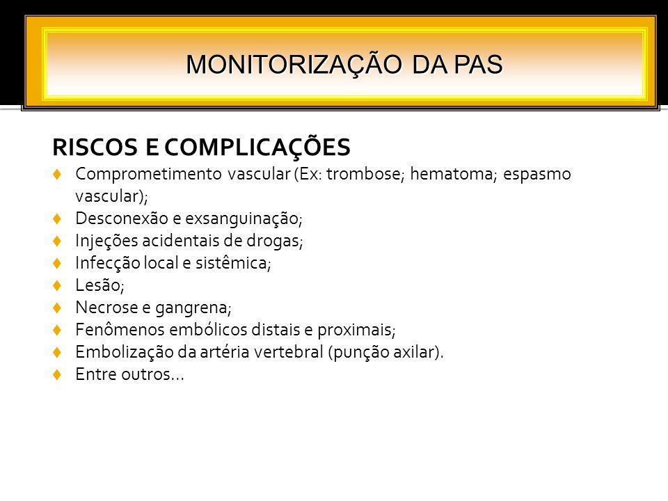 RISCOS E COMPLICAÇÕES Comprometimento vascular (Ex: trombose; hematoma; espasmo vascular); Desconexão e exsanguinação; Injeções acidentais de drogas;