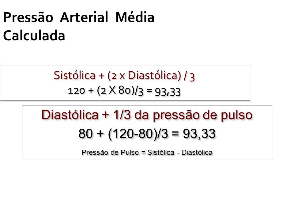 Pressão Arterial Média Calculada Sistólica + (2 x Diastólica) / 3 120 + (2 X 80)/3 = 93,33 Sistólica + (2 x Diastólica) / 3 120 + (2 X 80)/3 = 93,33 D