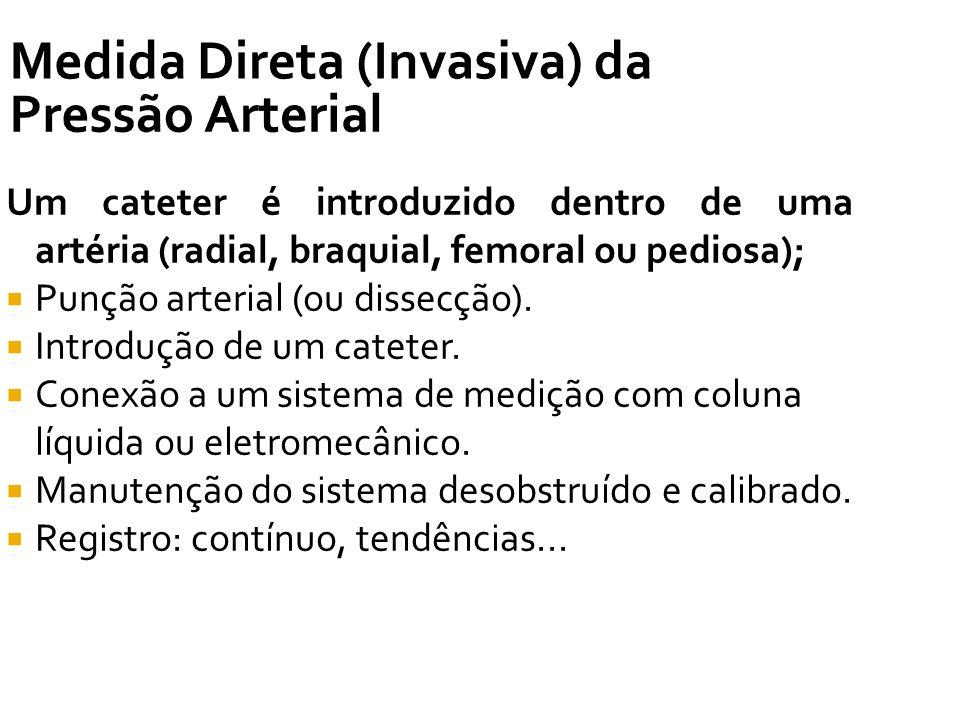 Medida Direta (Invasiva) da Pressão Arterial Um cateter é introduzido dentro de uma artéria (radial, braquial, femoral ou pediosa); Punção arterial (o