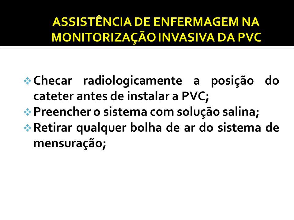ASSISTÊNCIA DE ENFERMAGEM NA MONITORIZAÇÃO INVASIVA DA PVC Checar radiologicamente a posição do cateter antes de instalar a PVC; Preencher o sistema c