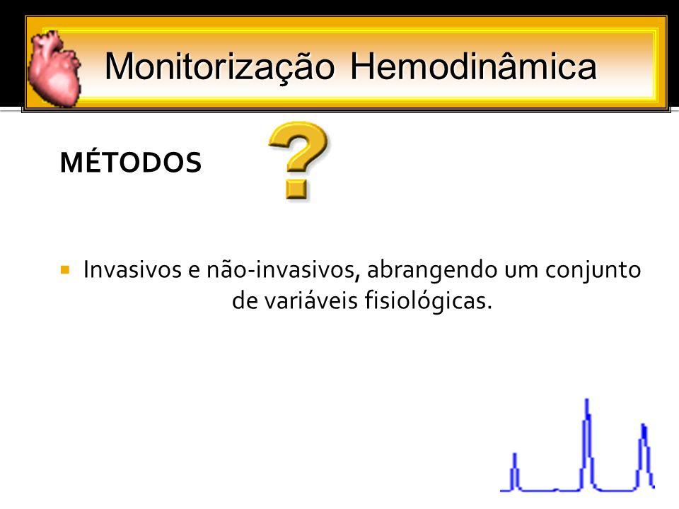 MÉTODOS Invasivos e não-invasivos, abrangendo um conjunto de variáveis fisiológicas. Monitorização Hemodinâmica