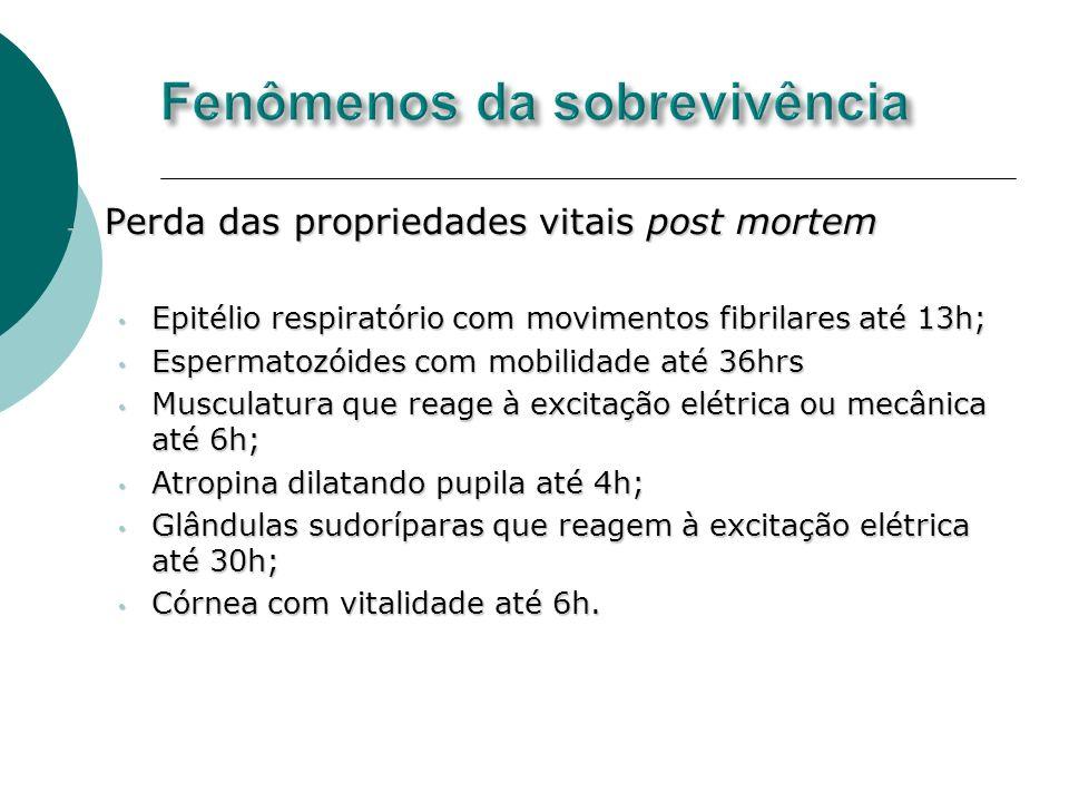 Perda das propriedades vitais post mortem Perda das propriedades vitais post mortem Epitélio respiratório com movimentos fibrilares até 13h; Epitélio