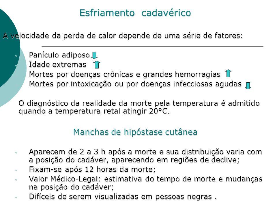 Esfriamento cadavérico A velocidade da perda de calor depende de uma série de fatores: Panículo adiposo Panículo adiposo Idade extremas Idade extremas