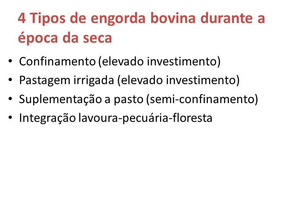 4 Tipos de engorda bovina durante a época da seca Confinamento (elevado investimento) Pastagem irrigada (elevado investimento) Suplementação a pasto (