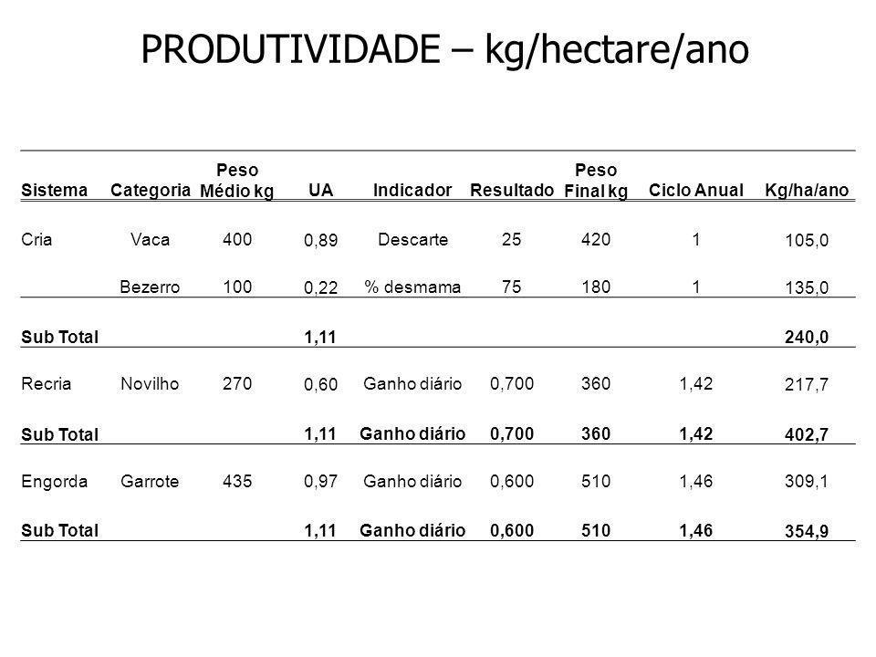PRODUTIVIDADE – kg/hectare/ano SistemaCategoria Peso Médio kgUAIndicadorResultado Peso Final kgCiclo AnualKg/ha/ano CriaVaca400 0,89Descarte254201 105