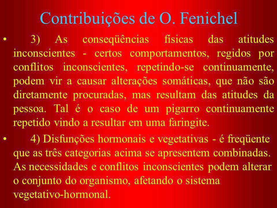 Contribuições de O. Fenichel 3) As conseqüências físicas das atitudes inconscientes - certos comportamentos, regidos por conflitos inconscientes, repe