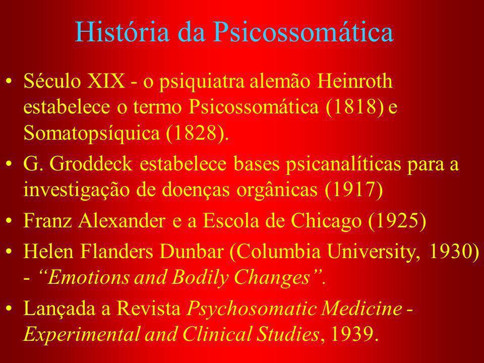 História da Psicossomática Século XIX - o psiquiatra alemão Heinroth estabelece o termo Psicossomática (1818) e Somatopsíquica (1828). G. Groddeck est