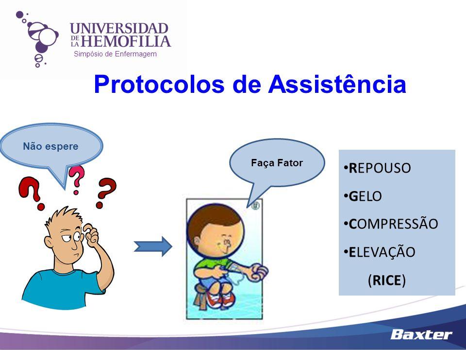 Simpósio de Enfermagem Protocolos de Assistência Não espere Faça Fator REPOUSO GELO COMPRESSÃO ELEVAÇÃO (RICE)