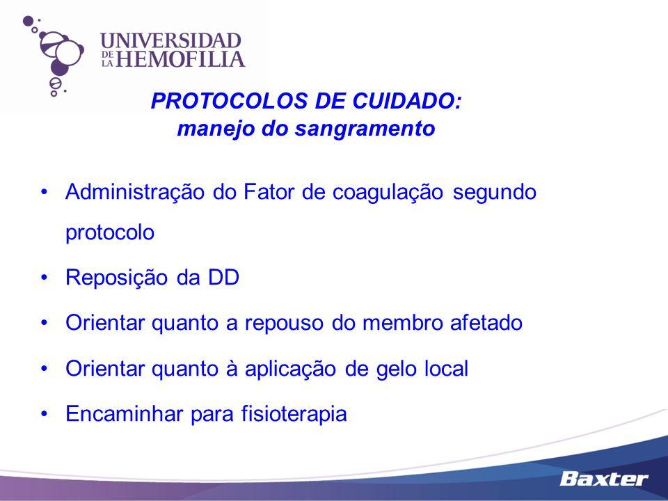 Administração do Fator de coagulação segundo protocolo Reposição da DD Orientar quanto a repouso do membro afetado Orientar quanto à aplicação de gelo