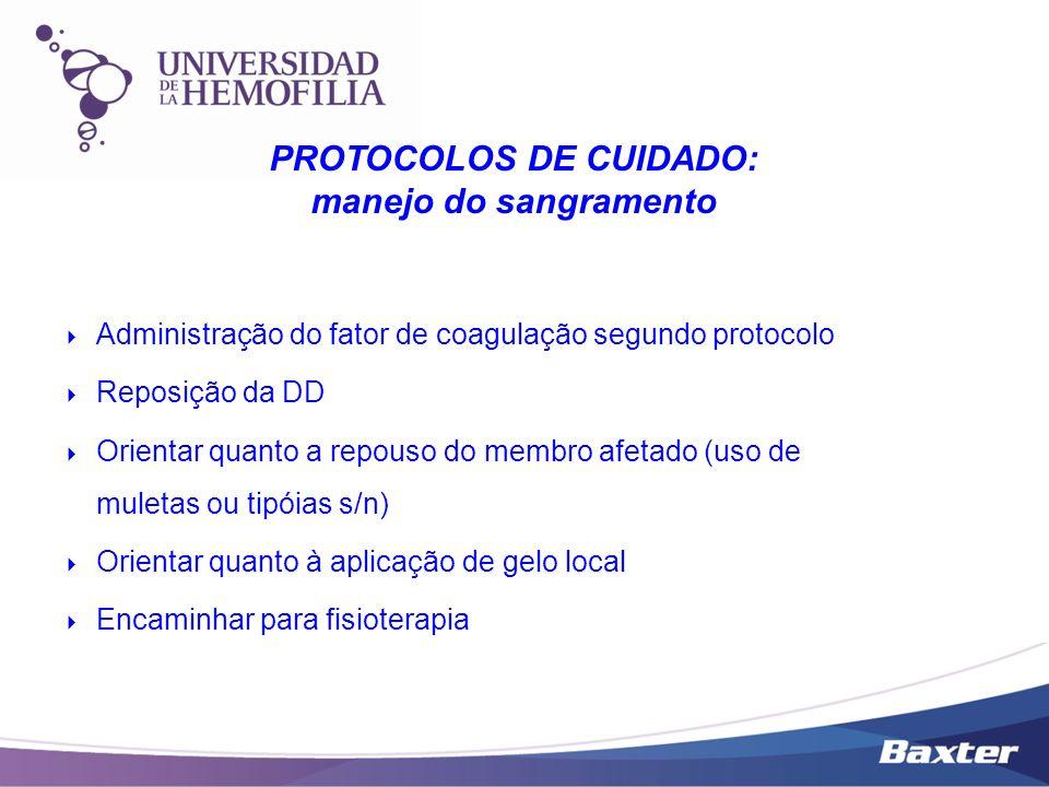 Administração do fator de coagulação segundo protocolo Reposição da DD Orientar quanto a repouso do membro afetado (uso de muletas ou tipóias s/n) Ori