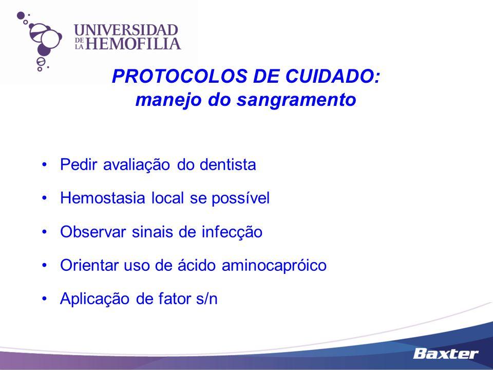 Pedir avaliação do dentista Hemostasia local se possível Observar sinais de infecção Orientar uso de ácido aminocapróico Aplicação de fator s/n PROTOC