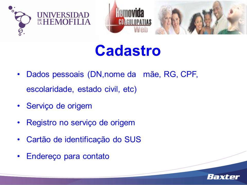 Cadastro Dados pessoais (DN,nome da mãe, RG, CPF, escolaridade, estado civil, etc) Serviço de origem Registro no serviço de origem Cartão de identific