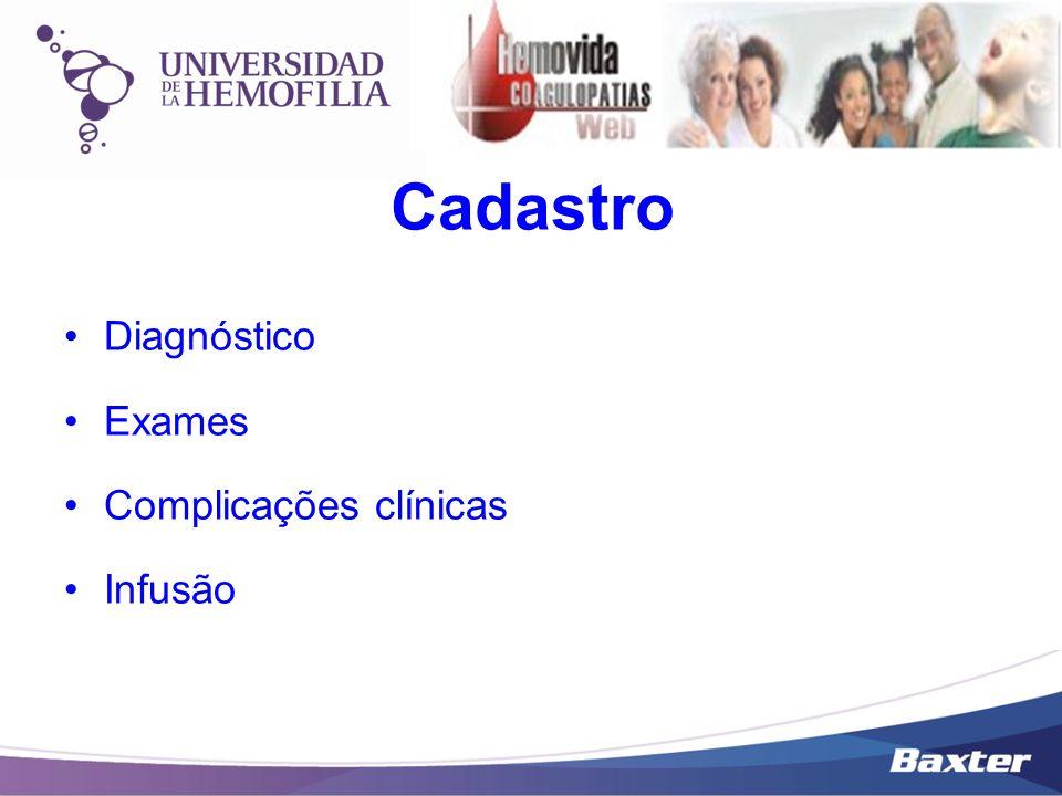 Cadastro Diagnóstico Exames Complicações clínicas Infusão