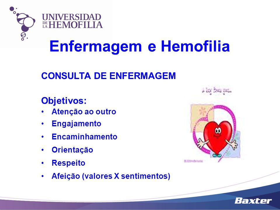 CONSULTA DE ENFERMAGEM Objetivos: Atenção ao outro Engajamento Encaminhamento Orientação Respeito Afeição (valores X sentimentos) Enfermagem e Hemofil