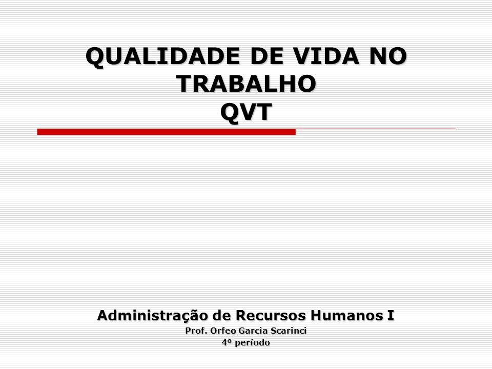 QUALIDADE DE VIDA NO TRABALHO QVT Administração de Recursos Humanos I Prof. Orfeo Garcia Scarinci 4º período