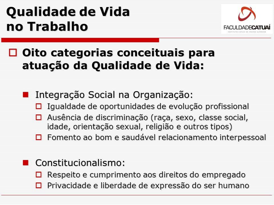 Qualidade de Vida no Trabalho Oito categorias conceituais para atuação da Qualidade de Vida: Oito categorias conceituais para atuação da Qualidade de