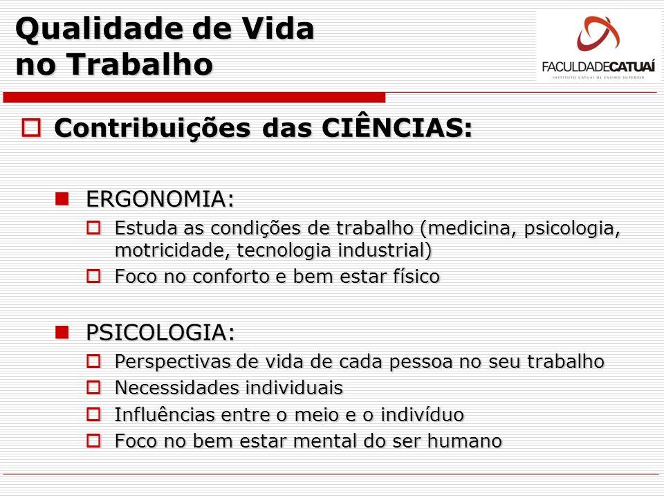 Qualidade de Vida no Trabalho Contribuições das CIÊNCIAS: Contribuições das CIÊNCIAS: ERGONOMIA: ERGONOMIA: Estuda as condições de trabalho (medicina,
