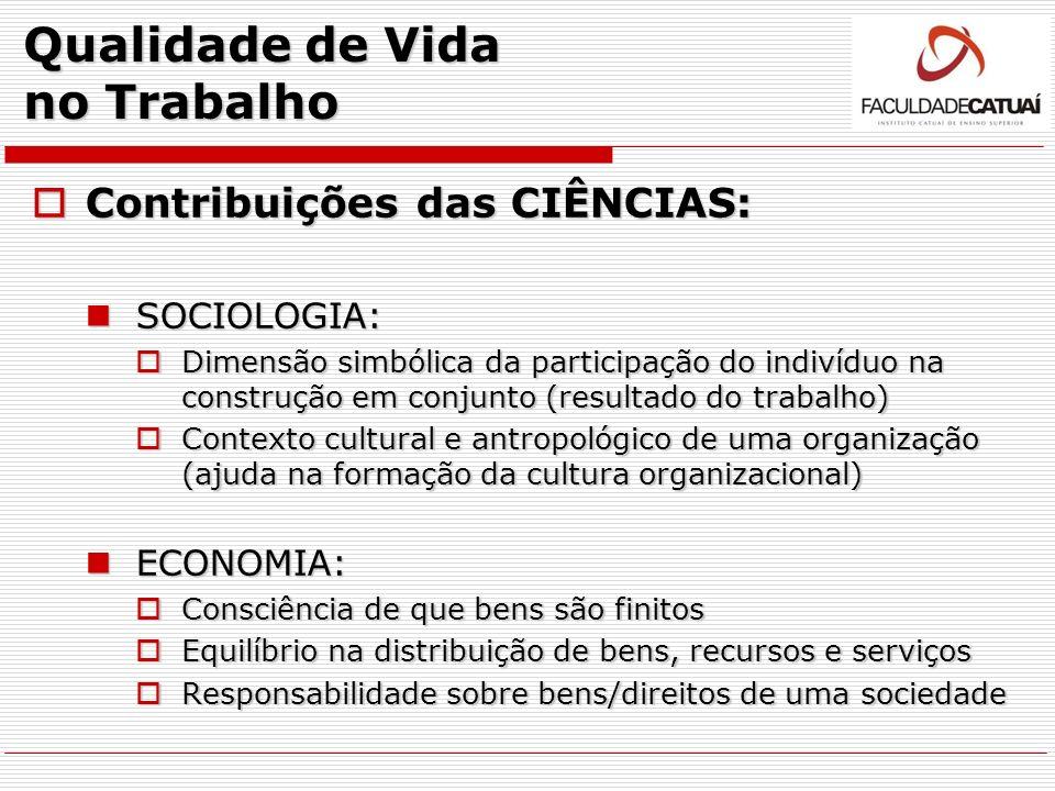 Qualidade de Vida no Trabalho Contribuições das CIÊNCIAS: Contribuições das CIÊNCIAS: SOCIOLOGIA: SOCIOLOGIA: Dimensão simbólica da participação do in