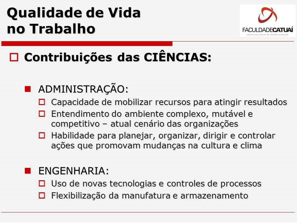 Qualidade de Vida no Trabalho Contribuições das CIÊNCIAS: Contribuições das CIÊNCIAS: ADMINISTRAÇÃO: ADMINISTRAÇÃO: Capacidade de mobilizar recursos p