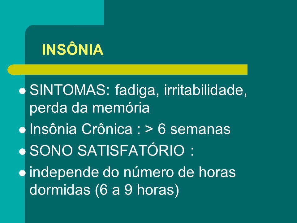 INSÔNIA SINTOMAS: fadiga, irritabilidade, perda da memória Insônia Crônica : > 6 semanas SONO SATISFATÓRIO : independe do número de horas dormidas (6