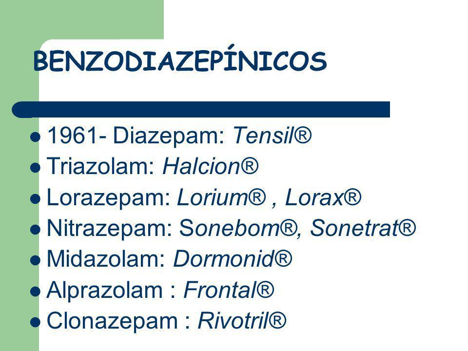 BENZODIAZEPÍNICOS 1961- Diazepam: Tensil® Triazolam: Halcion® Lorazepam: Lorium®, Lorax® Nitrazepam: Sonebom®, Sonetrat® Midazolam: Dormonid® Alprazol