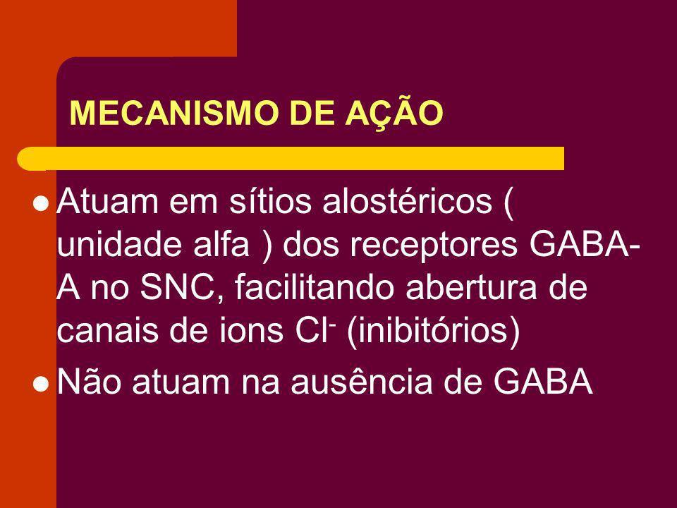 MECANISMO DE AÇÃO Atuam em sítios alostéricos ( unidade alfa ) dos receptores GABA- A no SNC, facilitando abertura de canais de ions Cl - (inibitórios