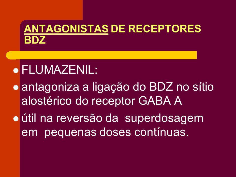 ANTAGONISTAS DE RECEPTORES BDZ FLUMAZENIL: antagoniza a ligação do BDZ no sítio alostérico do receptor GABA A útil na reversão da superdosagem em pequ