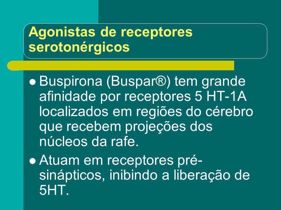 Agonistas de receptores serotonérgicos Buspirona (Buspar®) tem grande afinidade por receptores 5 HT-1A localizados em regiões do cérebro que recebem p