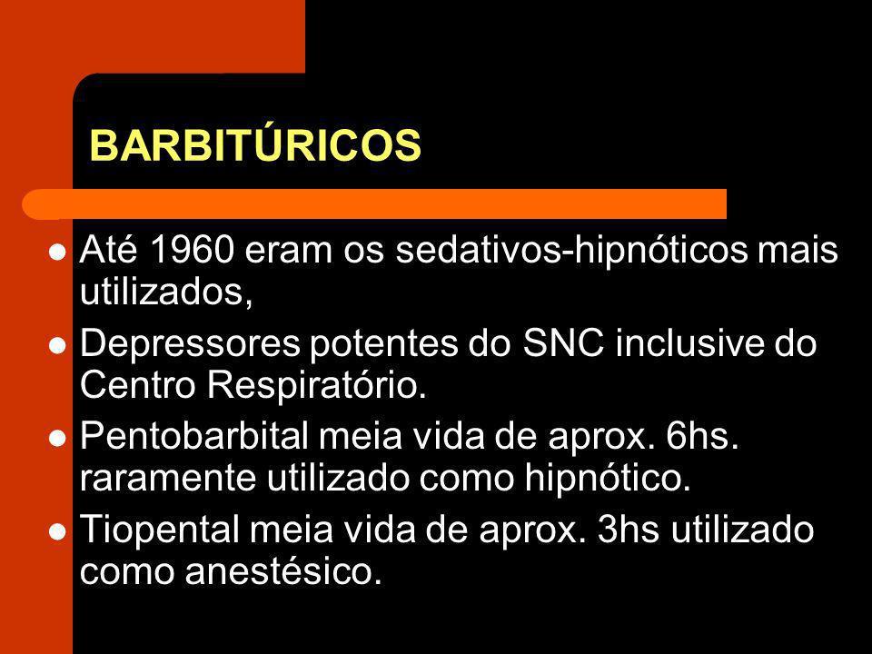 BARBITÚRICOS Até 1960 eram os sedativos-hipnóticos mais utilizados, Depressores potentes do SNC inclusive do Centro Respiratório. Pentobarbital meia v