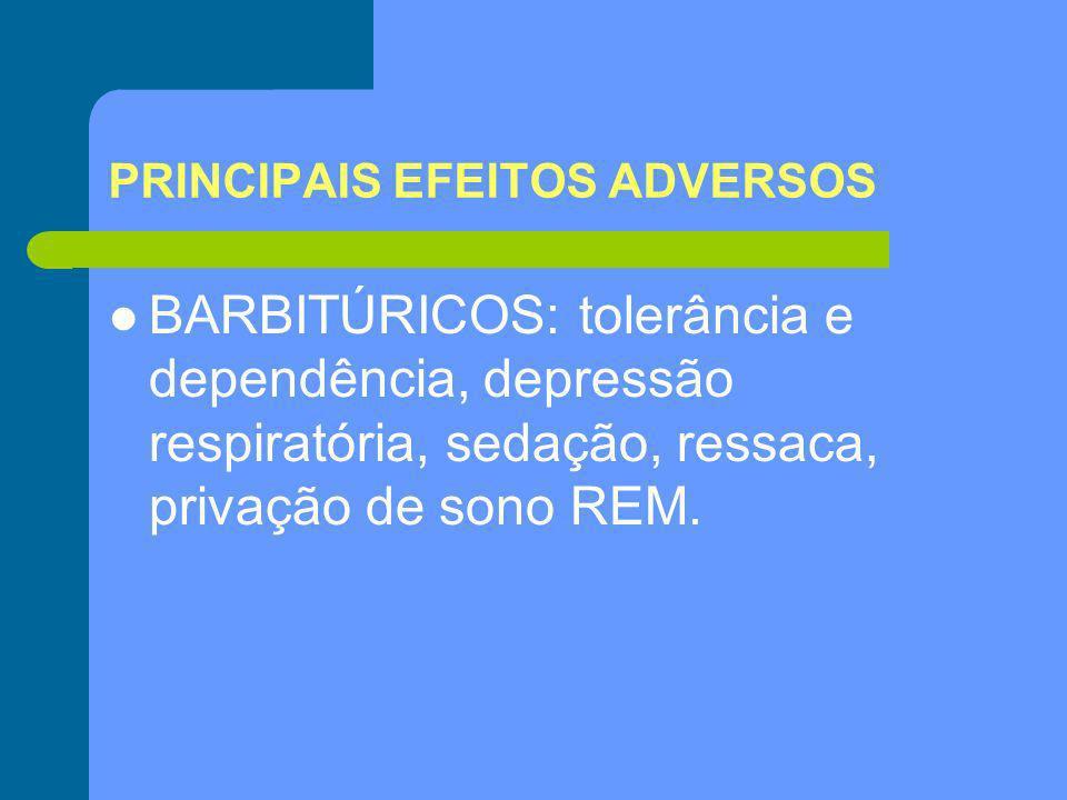 PRINCIPAIS EFEITOS ADVERSOS BARBITÚRICOS: tolerância e dependência, depressão respiratória, sedação, ressaca, privação de sono REM.