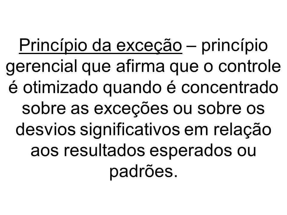 Princípio da exceção – princípio gerencial que afirma que o controle é otimizado quando é concentrado sobre as exceções ou sobre os desvios significat
