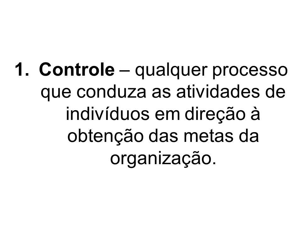 1.Controle – qualquer processo que conduza as atividades de indivíduos em direção à obtenção das metas da organização.