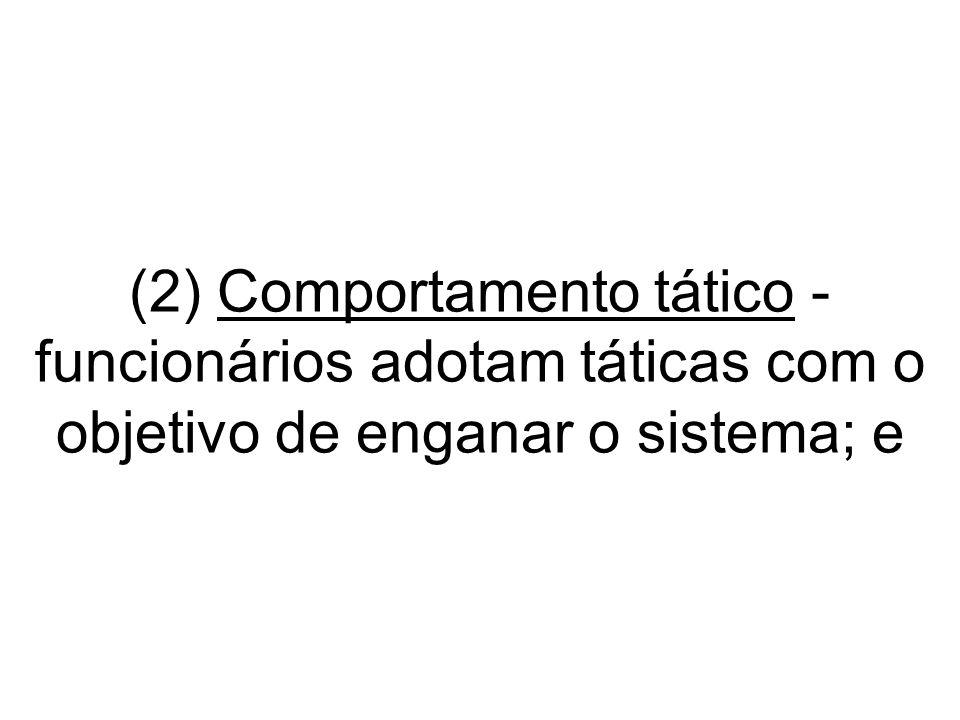 (2) Comportamento tático - funcionários adotam táticas com o objetivo de enganar o sistema; e