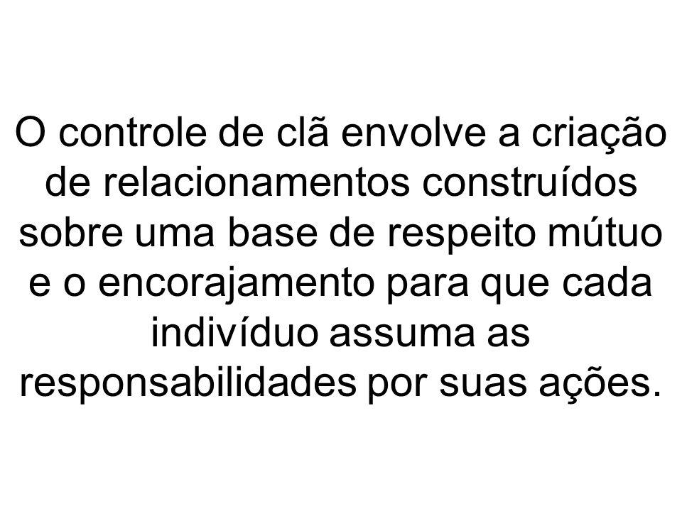 O controle de clã envolve a criação de relacionamentos construídos sobre uma base de respeito mútuo e o encorajamento para que cada indivíduo assuma a