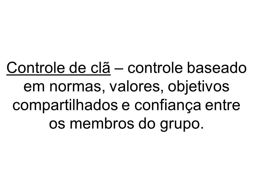 Controle de clã – controle baseado em normas, valores, objetivos compartilhados e confiança entre os membros do grupo.