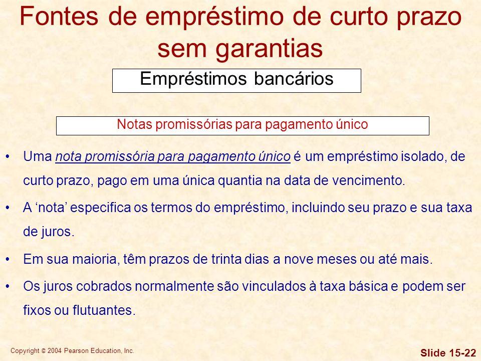Copyright © 2004 Pearson Education, Inc. Slide 15-21 Fontes de empréstimo de curto prazo sem garantias Empréstimos bancários Método de cálculo de juro