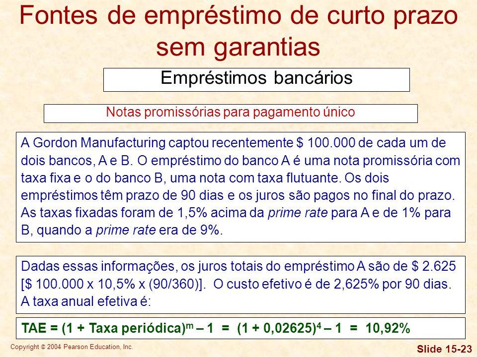 Copyright © 2004 Pearson Education, Inc. Slide 15-22 Fontes de empréstimo de curto prazo sem garantias Empréstimos bancários Uma nota promissória para