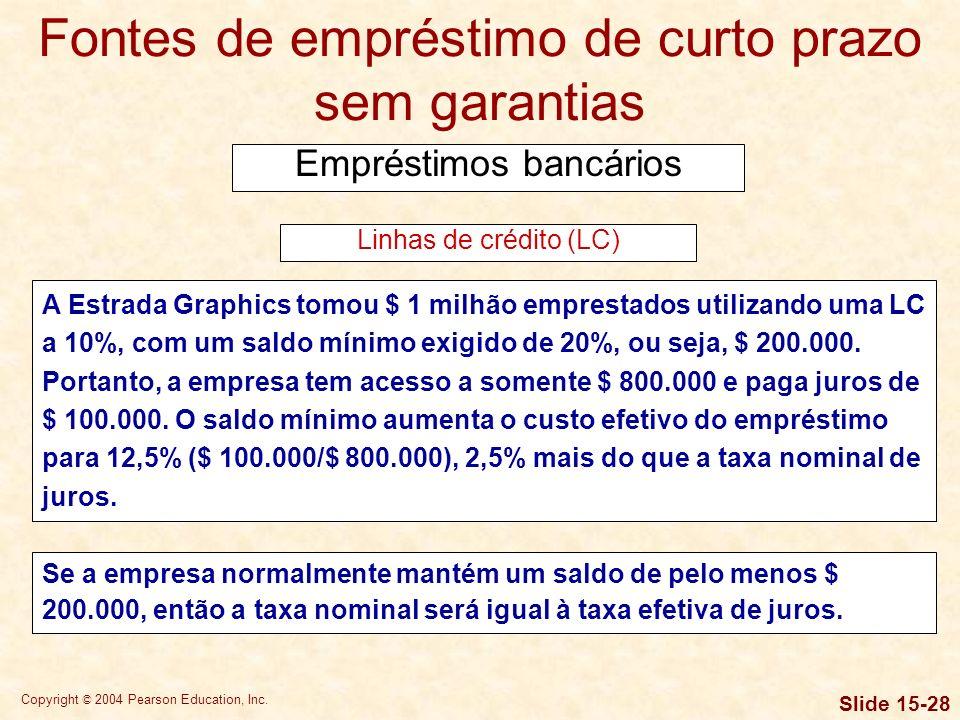 Copyright © 2004 Pearson Education, Inc. Slide 15-27 Fontes de empréstimo de curto prazo sem garantias Empréstimos bancários Tanto as LCs quanto os ac