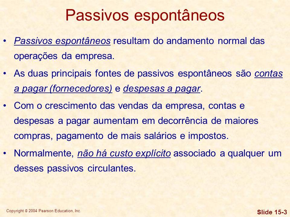 Copyright © 2004 Pearson Education, Inc. Slide 15-2 Objetivos de aprendizagem 5.Explicar as características de empréstimos de curto prazo com garantia