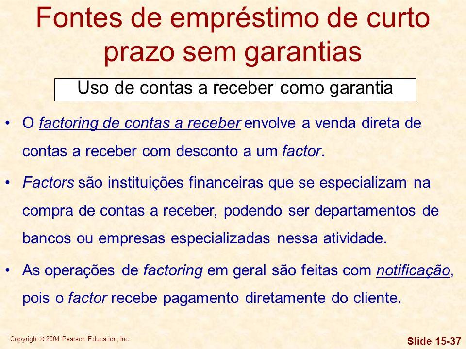 Copyright © 2004 Pearson Education, Inc. Slide 15-36 Fontes de empréstimo de curto prazo sem garantias Quando são usadas como garantia de um empréstim