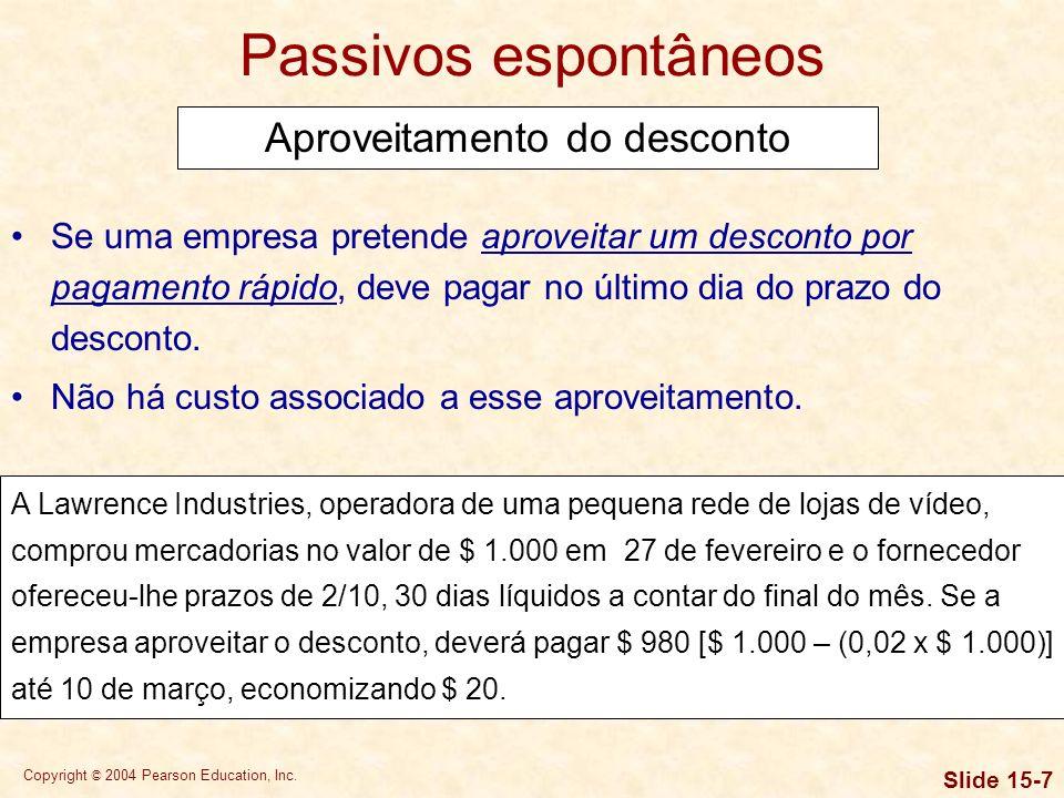 Copyright © 2004 Pearson Education, Inc. Slide 15-6 Passivos espontâneos Análise de prazos de crédito Os prazos de crédito oferecidos pelos fornecedor