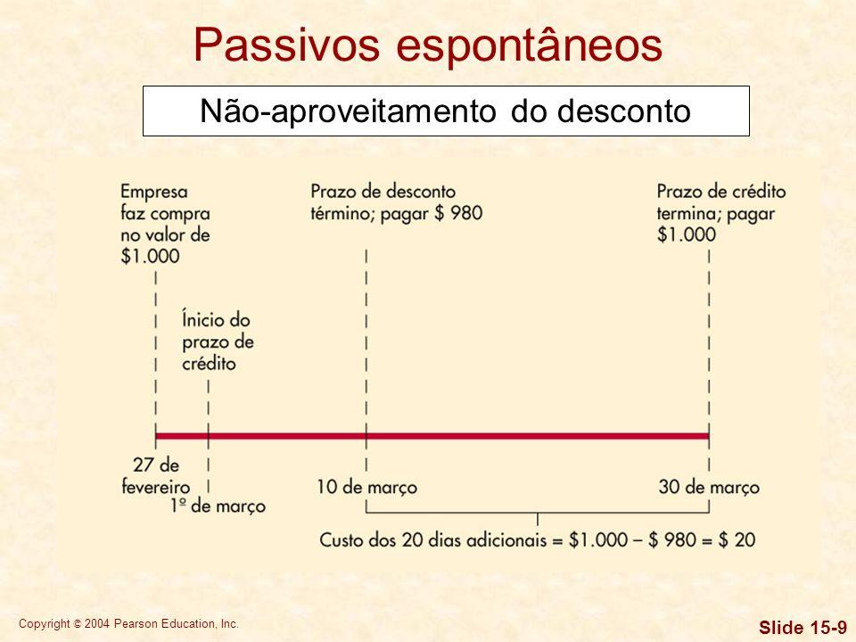 Copyright © 2004 Pearson Education, Inc. Slide 15-8 Passivos espontâneos Não-aproveitamento do desconto Se uma empresa optar por renunciar ao desconto