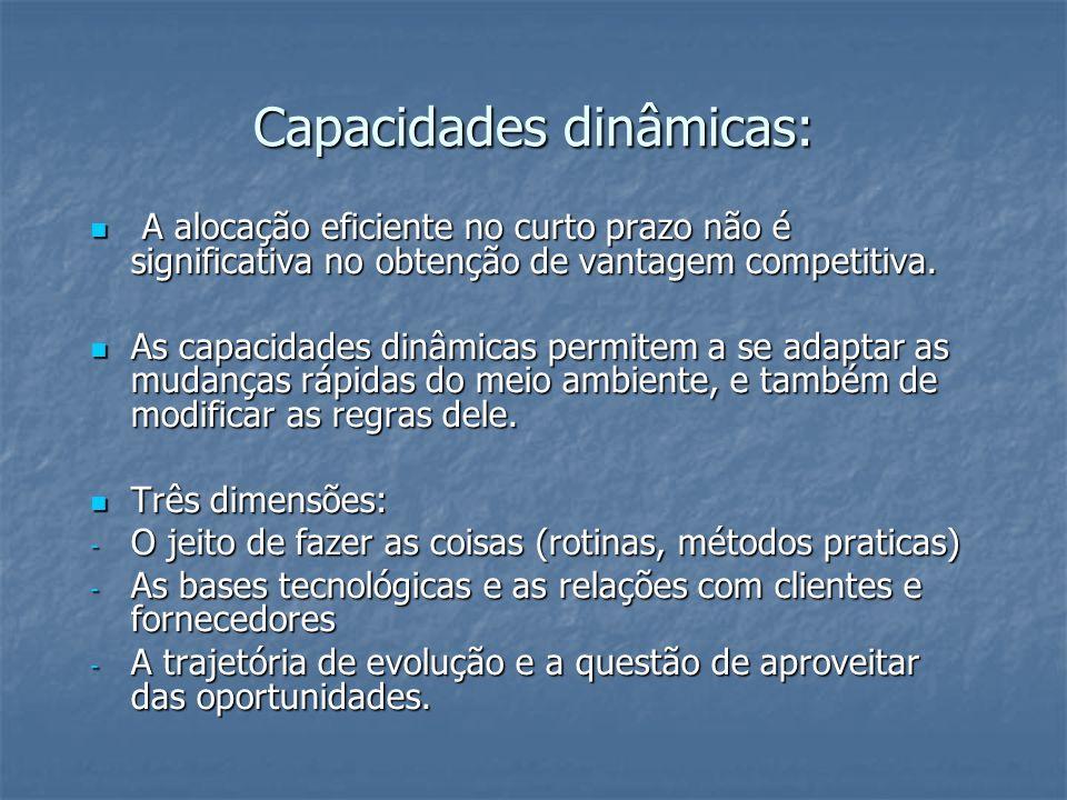 Capacidades dinâmicas: A alocação eficiente no curto prazo não é significativa no obtenção de vantagem competitiva. A alocação eficiente no curto praz