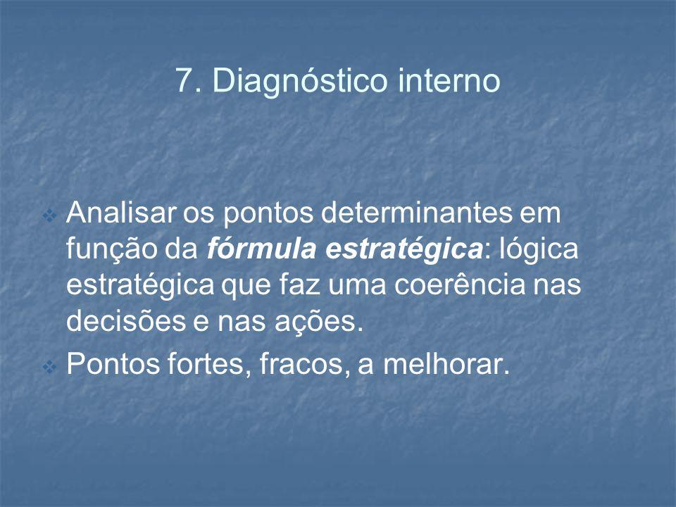 7. Diagnóstico interno Analisar os pontos determinantes em função da fórmula estratégica: lógica estratégica que faz uma coerência nas decisões e nas